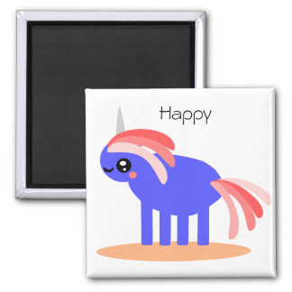 Weird But Happy Unicorn Square Magnet