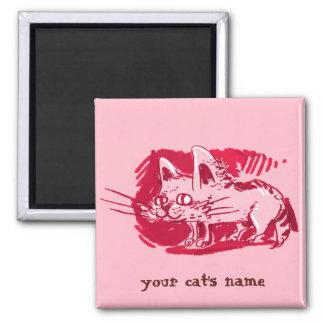 weird cat funny cartoon square magnet