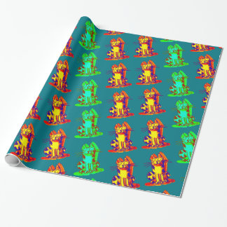 weird cat quick drawing cartoon wrapping paper