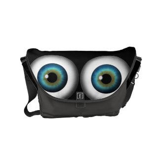 Weird Creepy Funny Blue Eyeball Eye Messenger Bags