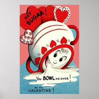 Weird Cute Funny Sugar Bowl Heart Valentine Poster