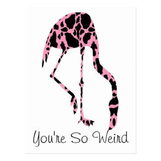 Weird Friend Pink Flamingo Cow Spots Postcard