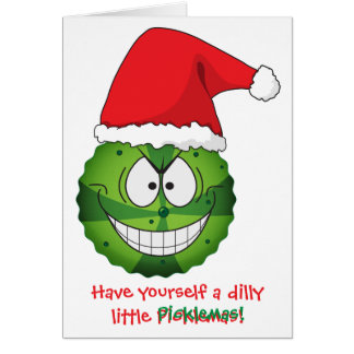 Weird Funny Bizarre Pickle Christmas Xmas Card