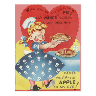 Weird Funny Mince Apple Pie Waitress Valentine Postcard