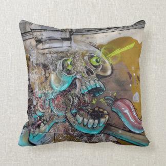 Weird Graffiti Frightened Skull Throw Pillow