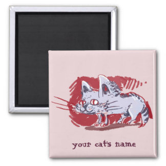 weird grey cat funny cartoon square magnet
