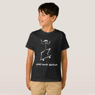 Weird Human Behavior Kids Hanes Skateboard T-Shirt