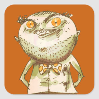 weird man is watching you funny cartoon square sticker