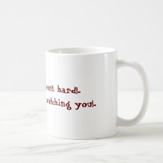 weird manager watching you funny cartoon coffee mug