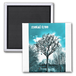 weird metal tree blue and cyan tint square magnet