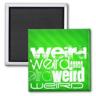 Weird; Neon Green Stripes 2 Inch Square Magnet
