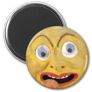 Weird Painted Dirty Face Vintage Papier Mache Toy 6 Cm Round Magnet