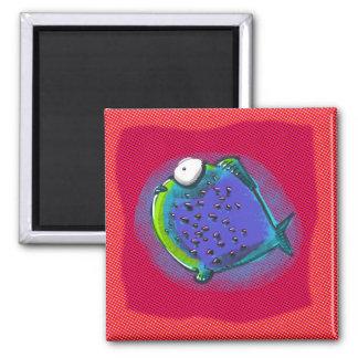 weird puffer fish funny cartoon square magnet