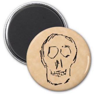 Weird Skull. Black. Sketch. 6 Cm Round Magnet