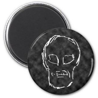 Weird Skull. White. Sketch. 6 Cm Round Magnet