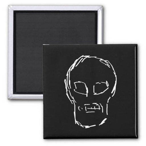 Weird Skull. White. Sketch. Refrigerator Magnets