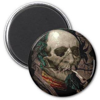 Weird Skull Zombie Stoner Man Smoking Pot Joint 6 Cm Round Magnet
