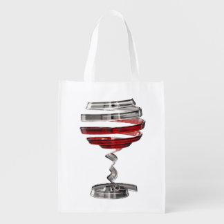 Weird Wine Glass Reusable Grocery Bag