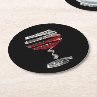 Weird Wine Glass Round Paper Coaster