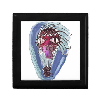 weirk hot air balloon cartoon style illustration small square gift box