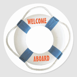 Welcome Aboard Life Ring Round Stickers