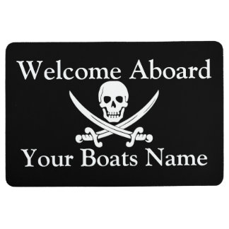 Welcome aboard pirate boat or yacht floor mat