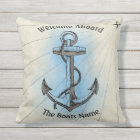 Welcome Aboard with Personalised Boats Name - Outdoor Cushion
