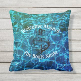 Welcome Aboard with Personalized Boats Name - Cushion
