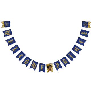 Welcome African Prince Blue & Gold Bunting Banner