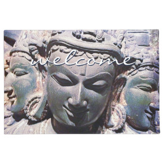 """""""Welcome"""" Antique Asian Stone Faces Statue Photo Doormat"""