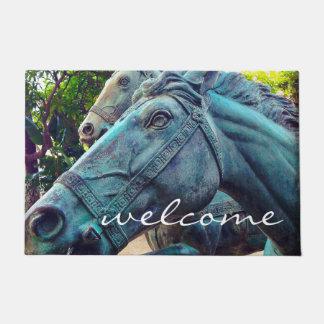 """Welcome"" Asian Turquoise Metal Horse Statue Photo Doormat"