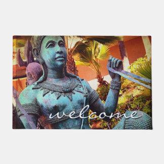 """""""Welcome"""" Asian Turquoise Warrior Statue Photo Doormat"""