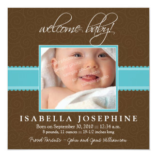 Welcome Baby! Aqua Ribbon Birth Announcement