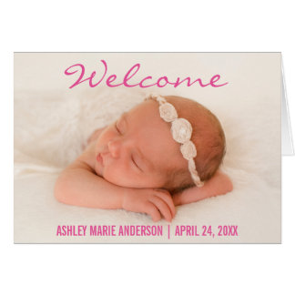Welcome Baby Birth Photo Announcement Fold Card P