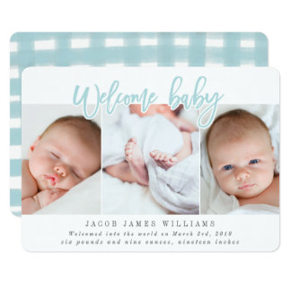WELCOME BABY-BLUE CARD