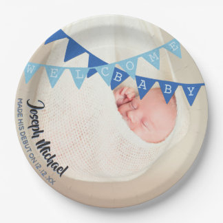Welcome Baby Boy Banners Photo Dated Personalized Paper Plate