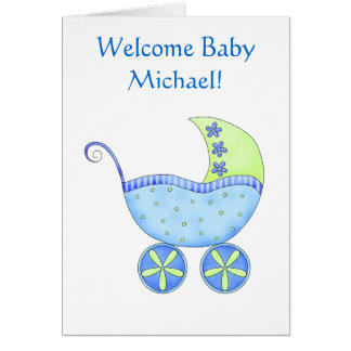 Welcome Baby Boy Name Personalised Blue Buggy Card