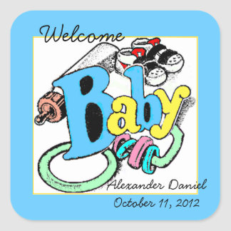 Welcome Baby Boy Personalize It Square Sticker