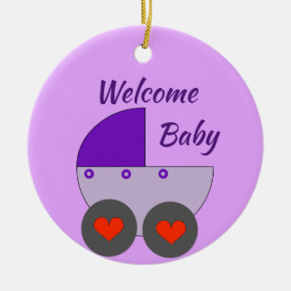 welcome baby ceramic ornament