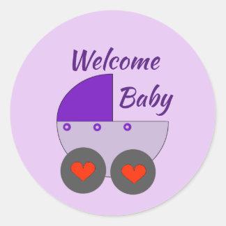 welcome baby classic round sticker