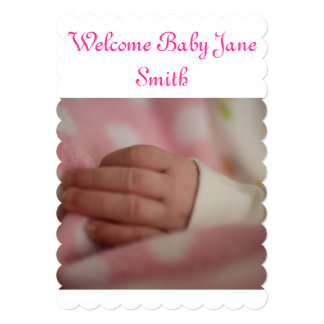 Welcome Baby Girl 13 Cm X 18 Cm Invitation Card