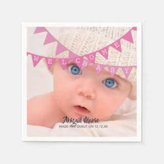 Welcome Baby Girl Banners Photo Dated Personalized Paper Napkin