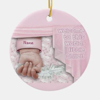 Welcome Baby Girl (customizable) Round Ceramic Decoration