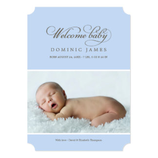 Welcome Baby Photo Birth Announcement | Blue