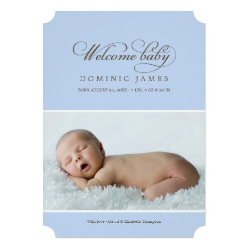 Welcome Baby Photo Birth Announcement | Blue Invites
