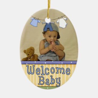 Welcome Baby Photo Ornament - Boy