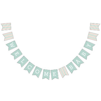 Welcome Baby | Seaside Pastel Mint Stripe Bunting