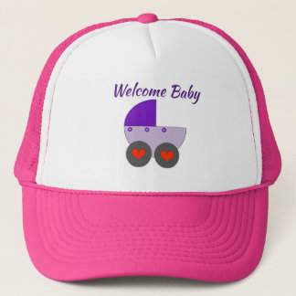 welcome baby trucker hat