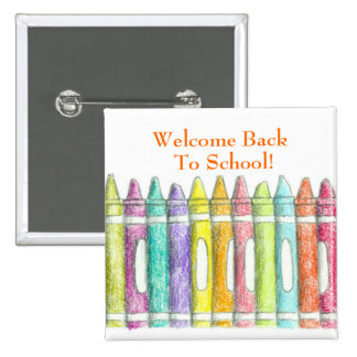 Welcome Back To School Pin Color Crayons Drawing