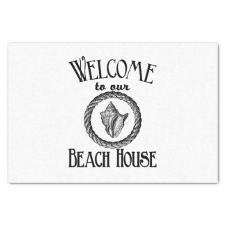 Welcome beach house vintage sea shell party tissue tissue paper